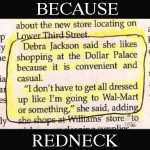Because Redneck Newspaper Story