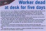 Worker Dead At Desk For Five Days image