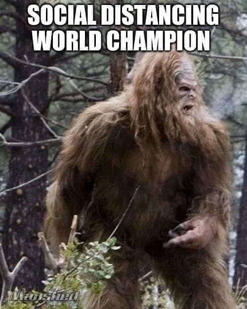 Bigfoot image world champ social distancing