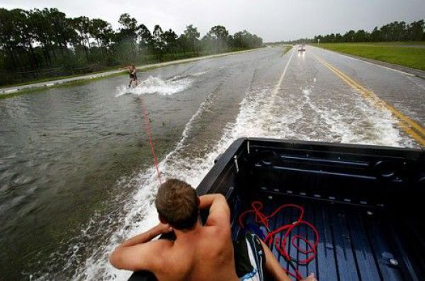 Redneck waterskiing